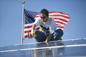 Installing USA made solar panels.
