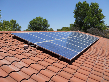 solar panels on a tile roof