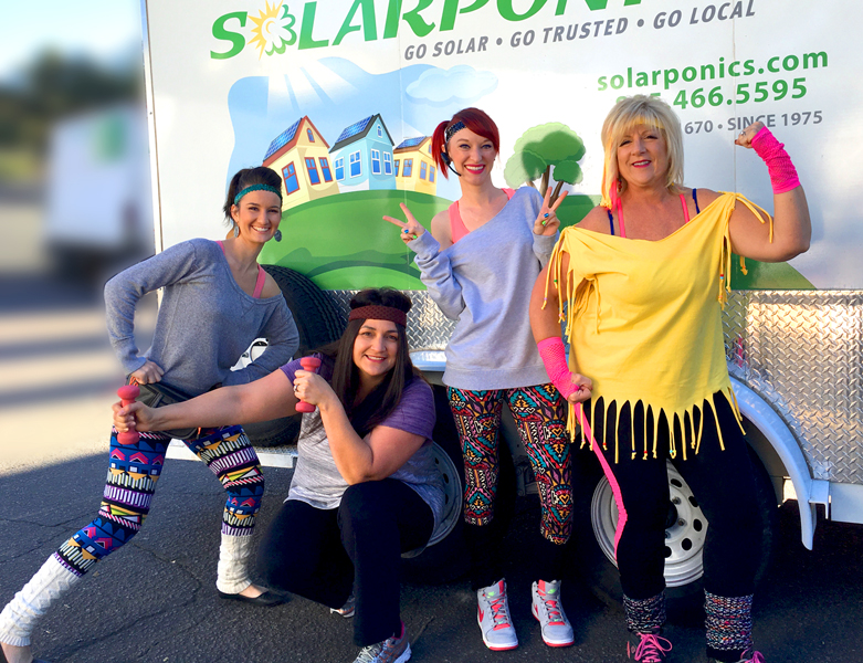 "Solarponics Employees celebrating ""work out"" day"