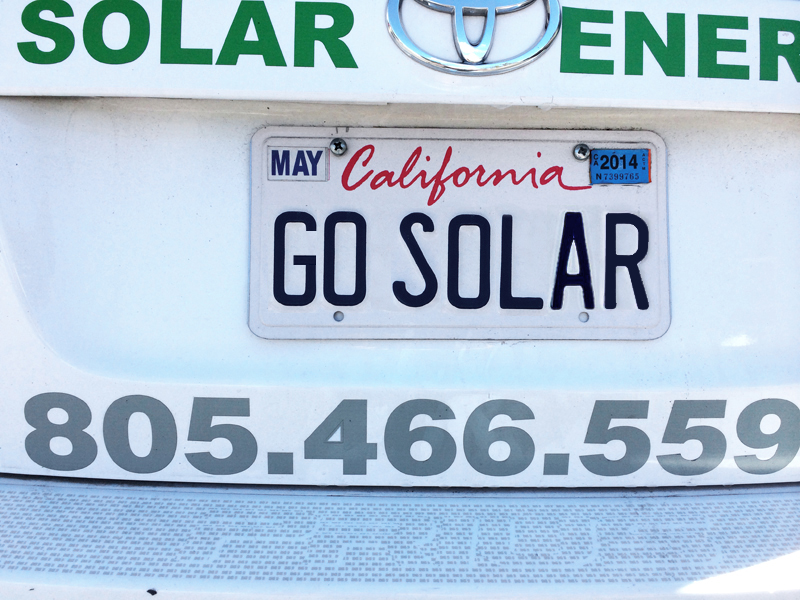 go solar California license plate by Solarponics