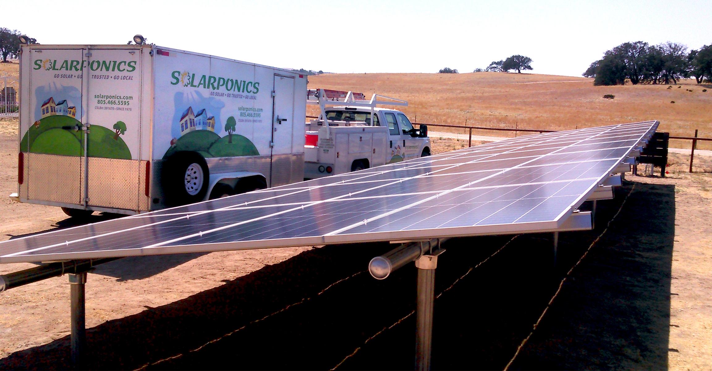 Atascadero solar ground mount by Solarponics.