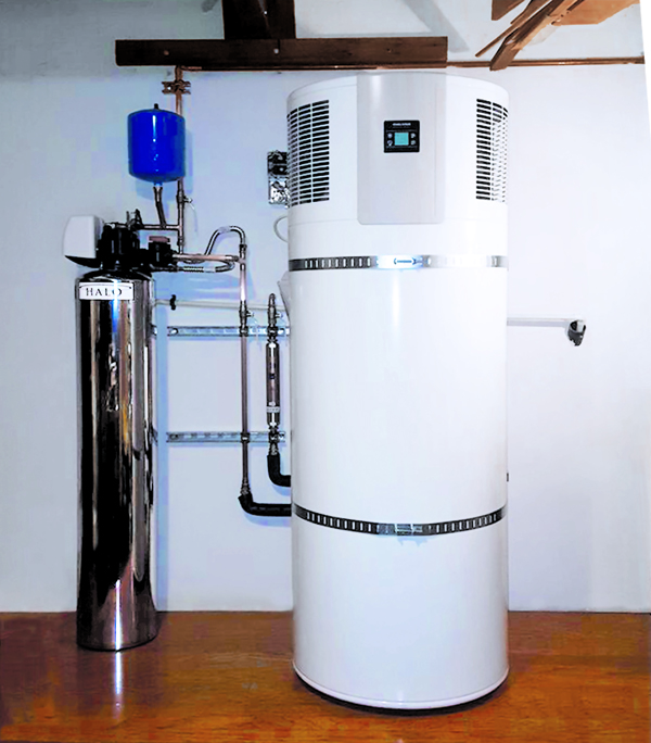 A heat pump water heater installation by Solarponics.