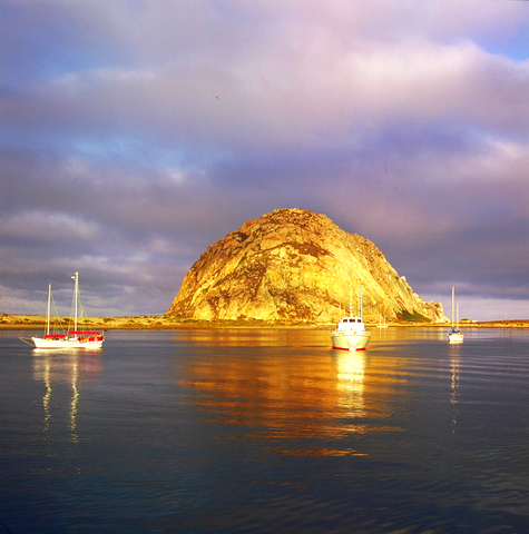 view of Morro rock from a bayside solar install by Solarponics
