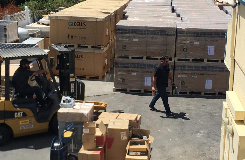 Solar panel stockpile